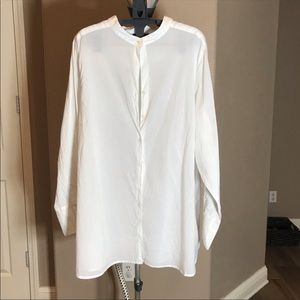 Avenue White Cotton Blouse, soft & flowy 22/24 NWT